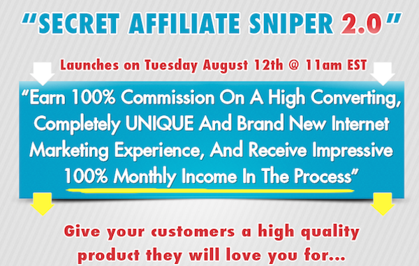 Secret Affiliate Sniper 2.0 affiliate program JV invite