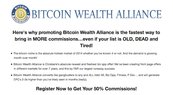 Bitcoin Wealth Alliance - ClickBank evergreen affiliate program JV invite