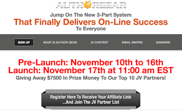 Author Gear Launch Affiliate Program JV Invite