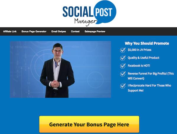 Sam Bakker + Joe Veloz - Social Post Manager affiliate program JV invite video