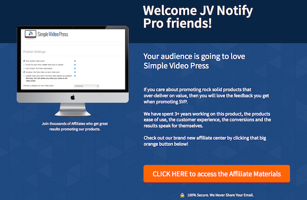 Simple Video Press evergreen affiliate program JV invite