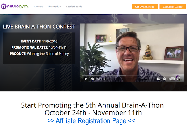John Assaraf - NeuroGym - 5th Annual Brain-A-Thon Live Event high ticket affiliate program JV invite video