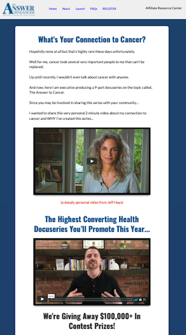 Jonathan Hunsaker, Jeff Hays + Dr Patrick Gentempo - The Answer To Cancer health docu-series launch affiliate program JV invite - Pre-Launch Begins: Thursday, March 26th 2020 - Launch Day: Monday, April 6th 2020 - Thursday, April 16th 2020