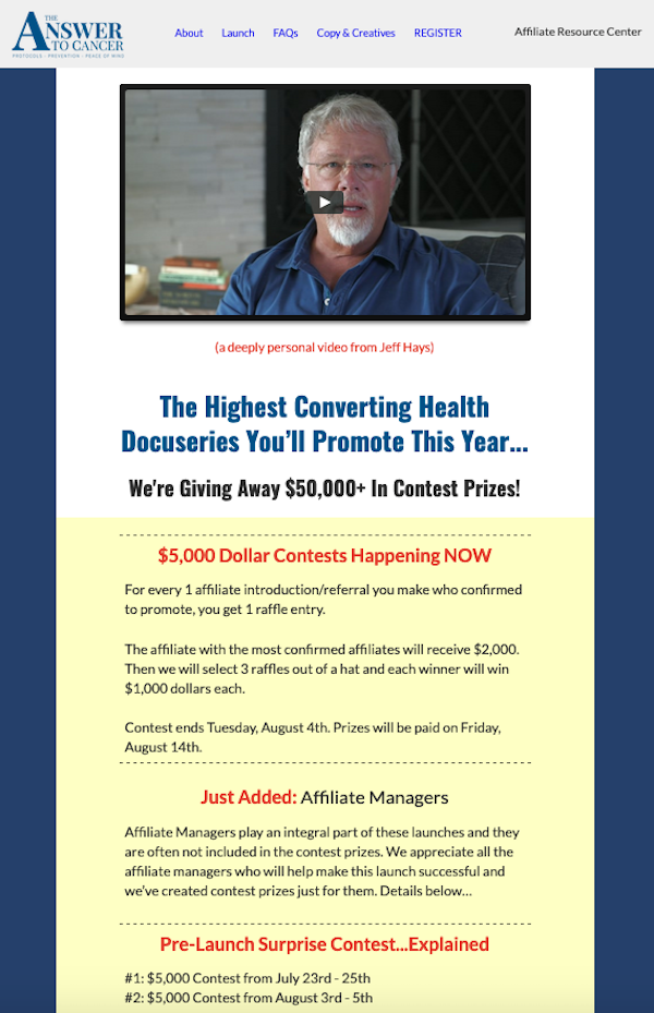 Jonathan Hunsaker, Jeff Hays + Dr Patrick Gentempo - The Answer To Cancer (Rescheduled) health docu-series launch affiliate program JV invite video - Pre-Launch Begins: Thursday, July 23rd 2020