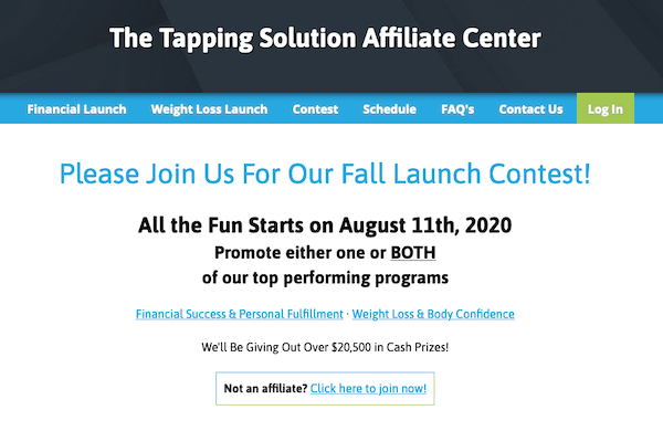 The Tapping Solution - Fall Launch Contest 2020 self-care programs affiliate program JV invite - Launch Day: Tuesday, August 11th 2020 - Sunday, October 18th 2020