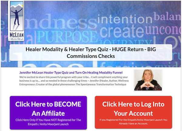 Jennifer McLean - What Healer Type Are You Quiz/Turn On Your Healing Modality Course Launch JV Affiliate Program Registration Page - Pre-Launch Begins: Monday, November 9th 2020 - Launch Day: Thursday, November 19th 2020
