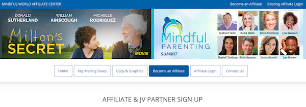Mindful World - Milton's Secret Movie + Parenting Summit Launch Affiliate Program JV Registration Page - Launch Day: Monday, October 26th 2020 - Wednesday, November 25th 2020