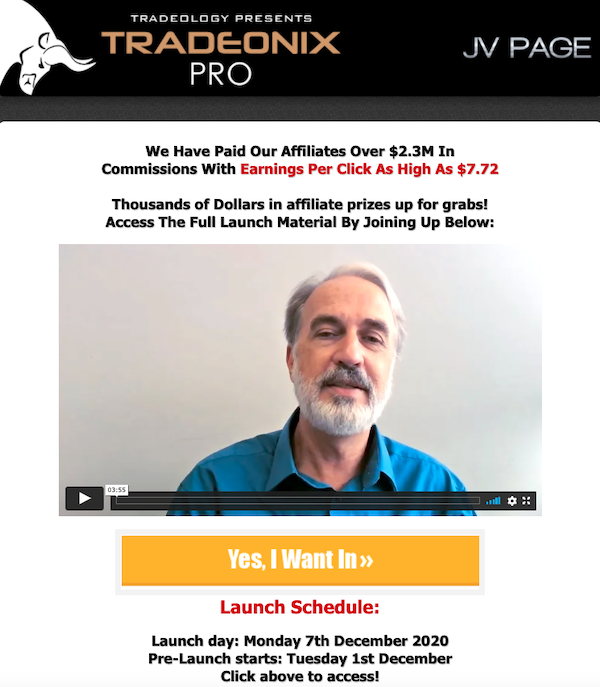 Tradeology - Tradeonix Pro Forex trading system launch ClickBank affiliate program JV video registration page - Pre-Launch Begins: Tuesday, December 1st 2020 - Launch Day: Monday, December 7th 2020