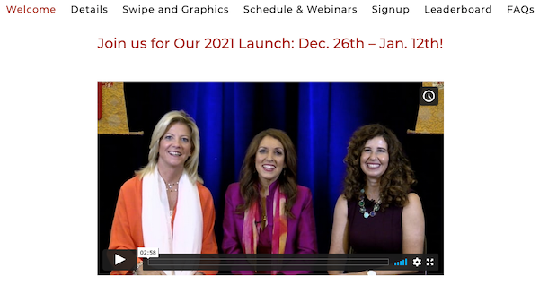 Marci Shimoff, Dr Sue Morter + Lisa Garr - Your Year Of Miracles 2021 Launch Affiliate Program JV Registration Page - Pre-Launch Begins: Saturday, December 26th 2020 - Launch Day: Saturday, January 2nd 2021