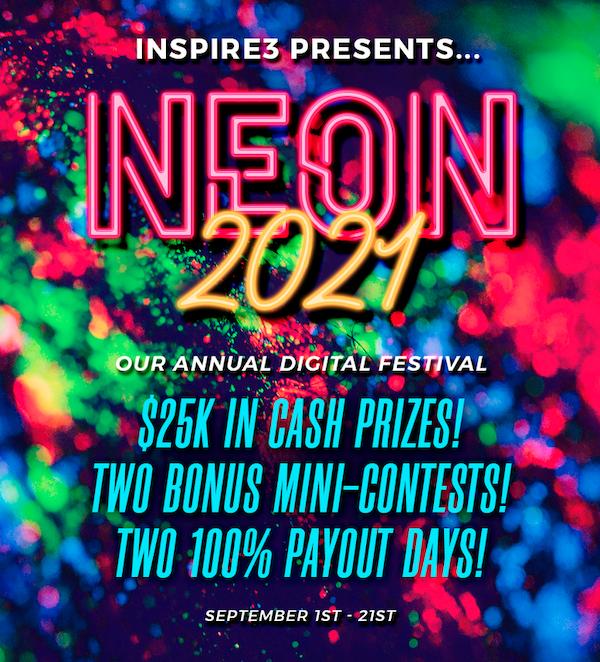 Karl Moore + Andrew Roth - Inspire3 - Neon Digital Festival 2021 Launch Affiliate Program JV Invite Page - Launch Day: Wednesday, September 1st 2021 - Tuesday, September 21st 2021