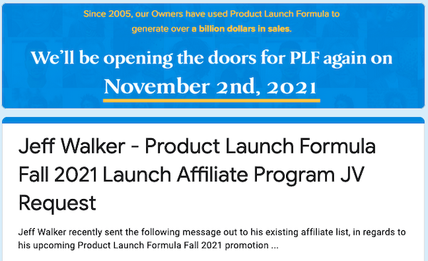 Jeff Walker - Product Launch Formula Fall 2021 Launch Affiliate Program JV Request Page - Pre-Launch Begins: Tuesday, November 2nd 2021 - Launch Day: Monday, November 8th 2021
