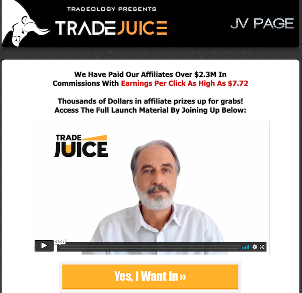 Tradeology - Tradejuice Signals Launch Affiliate Program JV Invite Page - Launch Day: Monday, September 13th 2021